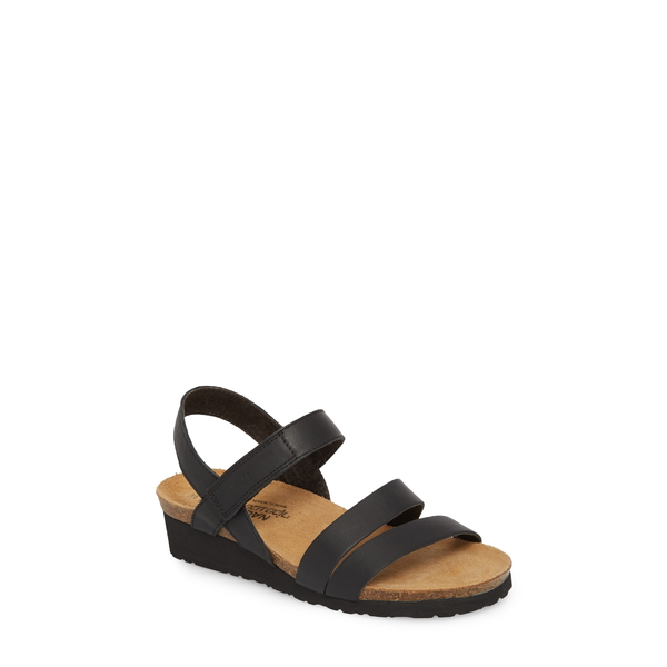 ナオト レディース サンダル シューズ Kayla Wedge Sandal Black Matte Leather