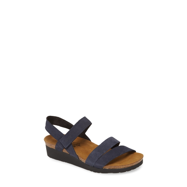 ナオト レディース サンダル シューズ Kayla Wedge Sandal Navy Velvet Nubuck Leather