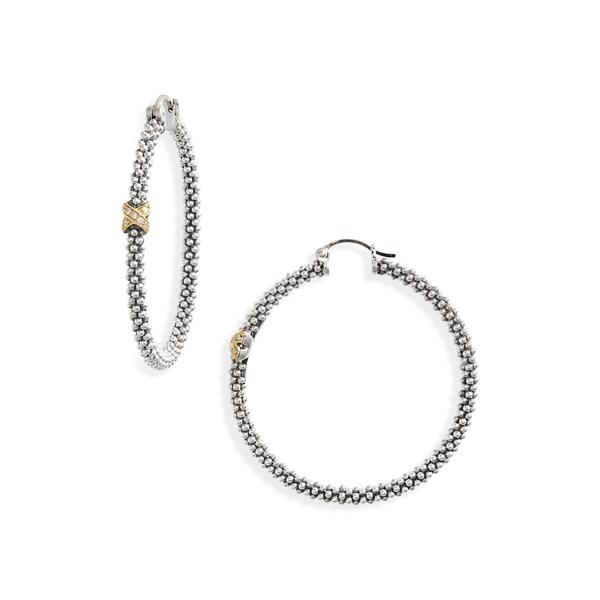 ラゴス レディース ピアス イヤリング アクセサリー Caviar Two Tone Slender Hoop Earrings SilverGoldMGLVpjUqSz