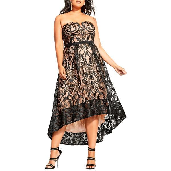 シティーシック レディース ワンピース トップス Embroidered Attraction High/Low Cocktail Dress Black