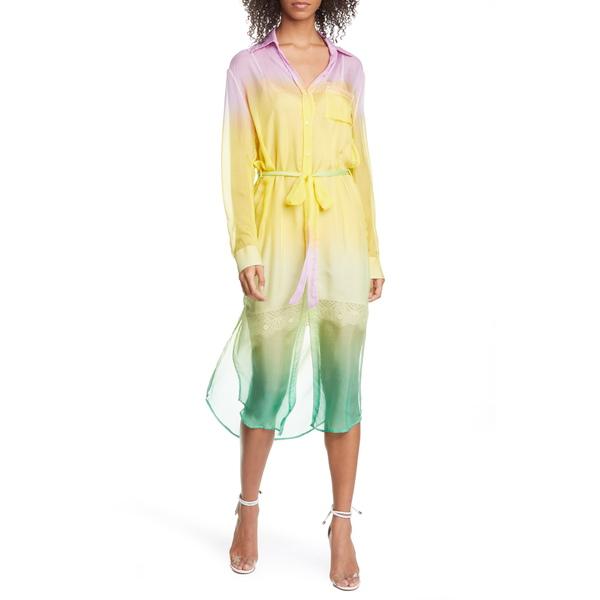 ル シュペルブ レディース ワンピース トップス Tequila Sunrise OmbrLong Sleeve Silk Shirtdress Sunrise Chiffon