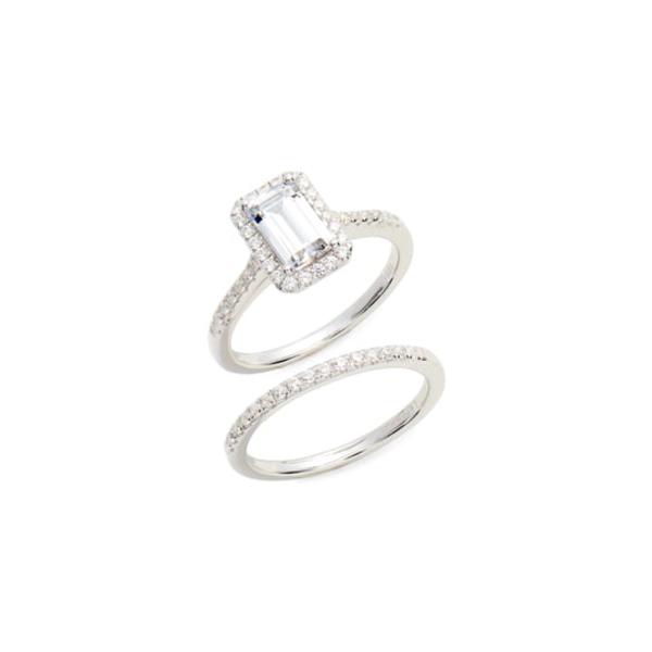 ラフォン レディース リング アクセサリー Emerald Cut Halo Engagement Ring & Wedding Band Set Silver/ Clear