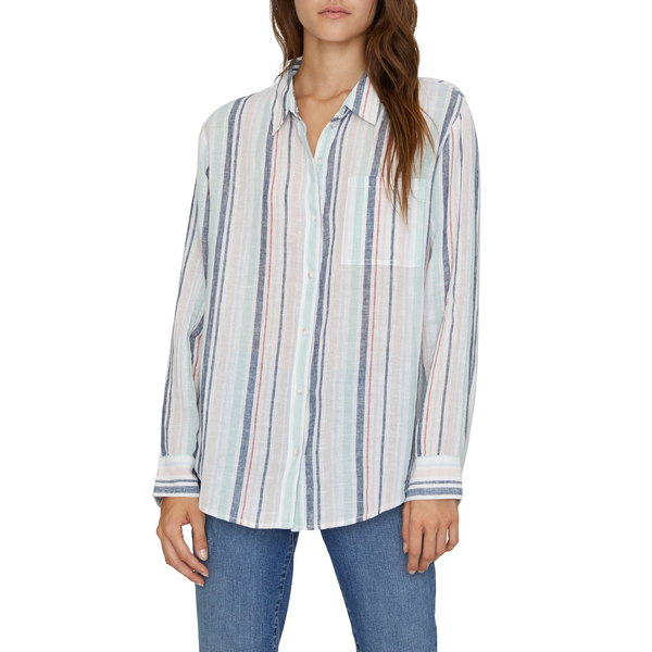 サンクチュアリー レディース シャツ トップス Keepers Stripe Boyfriend Shirt Mini Garden Stripe