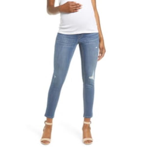 1822デニム レディース デニムパンツ ボトムス Distressed Ankle Maternity Skinny Jeans Christina