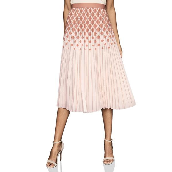 レイス レディース スカート ボトムス Elsa Diamond Print OmbrPleat Skirt Peach