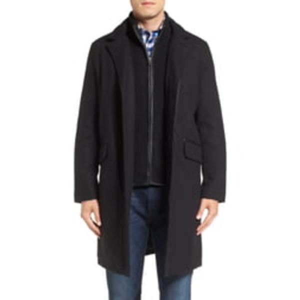 コールハーン メンズ コート アウター Wool Blend Overcoat with Knit Bib Inset Black