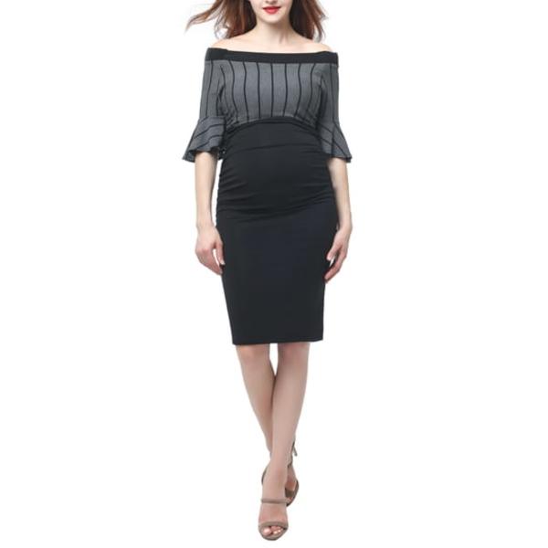 キミアンドカイ レディース ワンピース トップス Josephine Off the Shoulder Body-Con Maternity Dress Black/ Gray