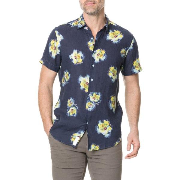 ロッドアンドグン メンズ シャツ トップス Hopelands Regular Fit Floral Short Sleeve Linen Button-Up Shirt Ink