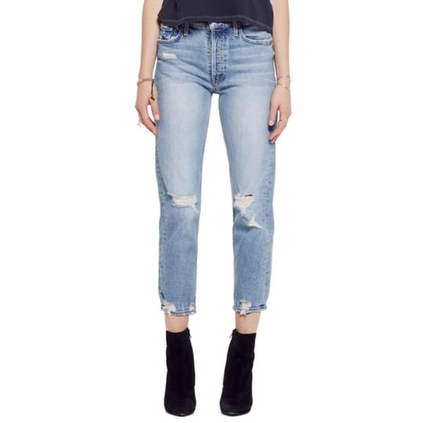 マザー レディース デニムパンツ ボトムス The Tomcat High Waist Ripped Crop Straight Leg Jeans The Confession