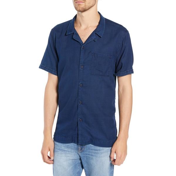 フレーム メンズ シャツ トップス Slim Fit Camp Shirt Dark Blue