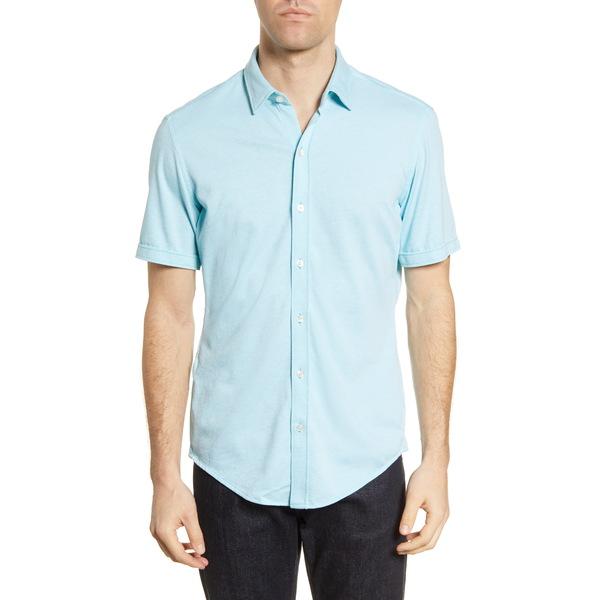 ボス メンズ シャツ トップス Robb Slim Fit Jersey Short Sleeve Sport Shirt Teal