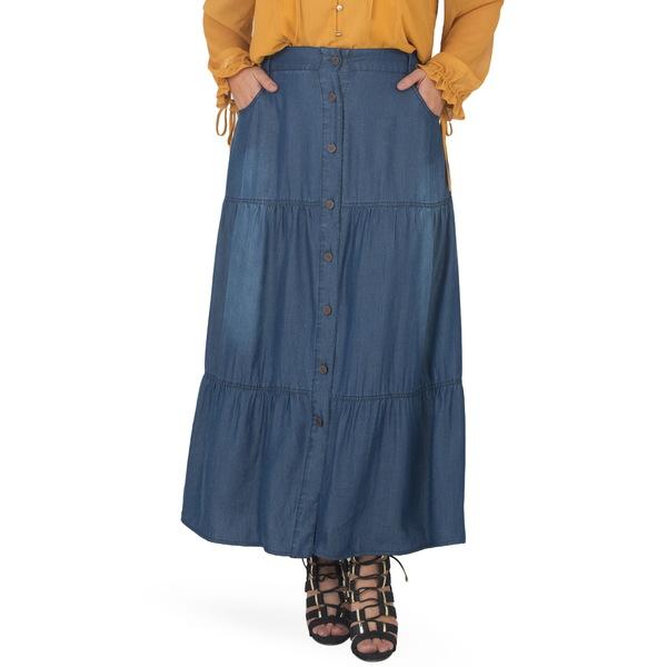 スタンダーズアンドプラクティス レディース スカート ボトムス Denim Maxi Peasant Skirt Dark Blast