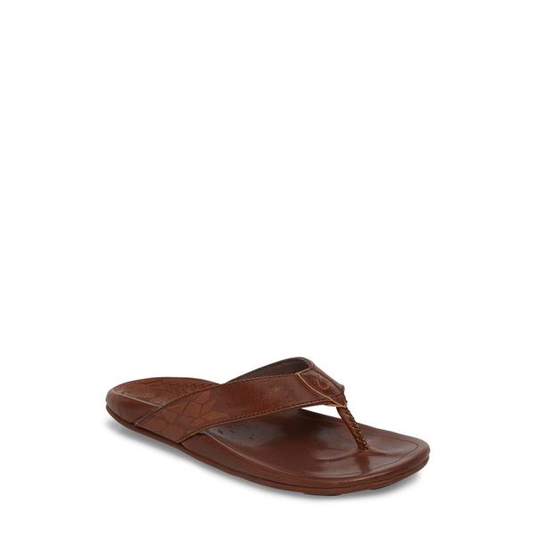 オルカイ メンズ サンダル シューズ Kulia Flip Flop Dark Wood/ Dark Wood Leather