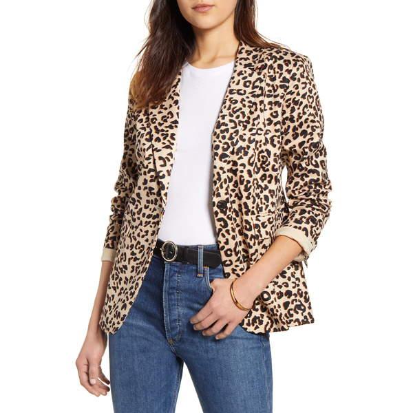 ワンナインオーワン レディース ジャケット&ブルゾン アウター Preppy Twill Blazer Beige Shadow Leopard