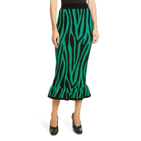 ヴィクター・グレモード レディース スカート ボトムス Tiger Stripe Ruffle Wool Midi Skirt Green And Black Print