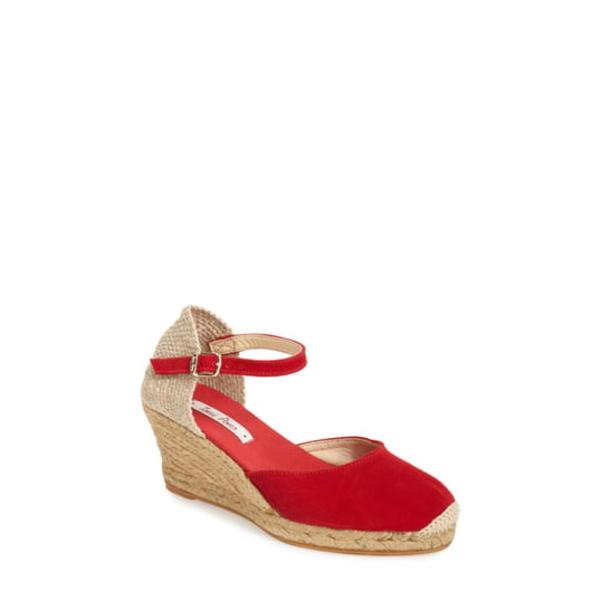 トニーポンズ レディース サンダル シューズ 'Lloret-5' Espadrille Wedge Sandal Red