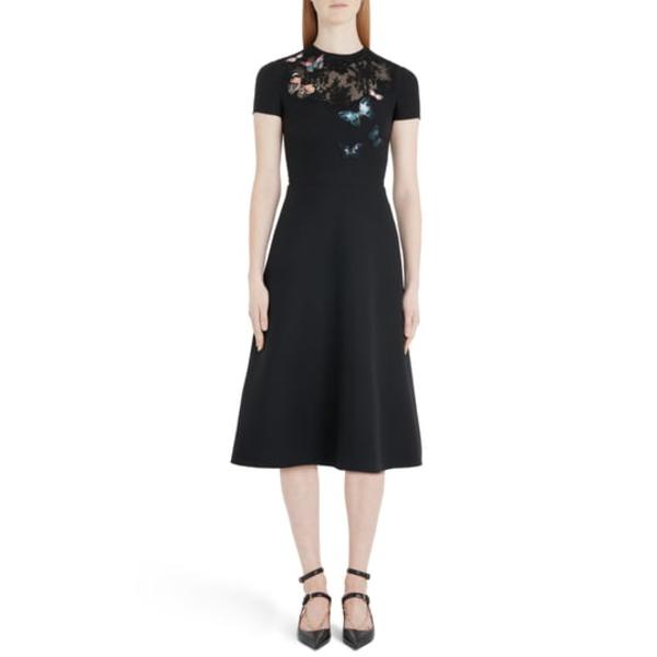 ヴァレンティノ レディース ワンピース トップス Butterfly Embroidered Lace Panel Midi Dress 0no-Black