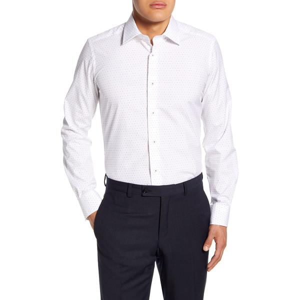 デイビッドドナヒュー メンズ シャツ トップス Trim Fit Dress Shirt White/Multi