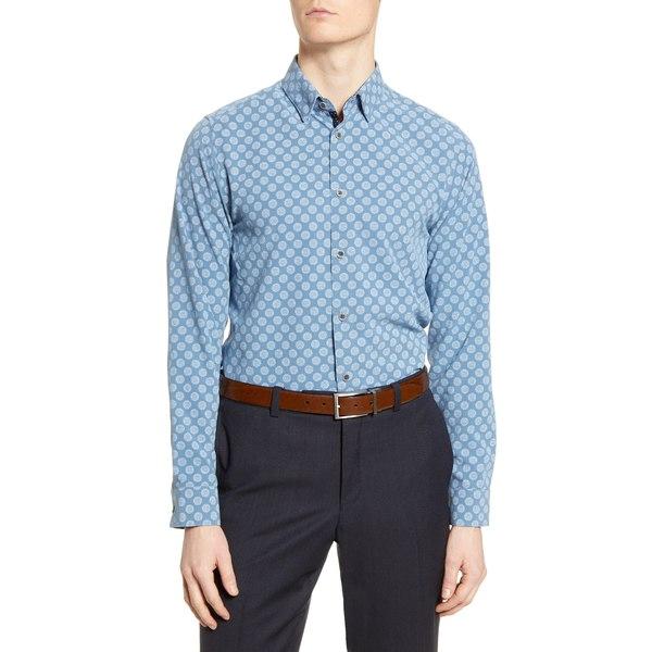 テッドベーカー メンズ シャツ トップス Noder Slim Fit Geo Print Button-Up Shirt Blue