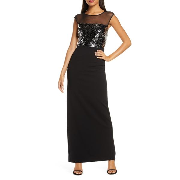 ヴィンスカムート レディース ワンピース トップス Sequin & Mesh Bodice Column Gown Black Silver