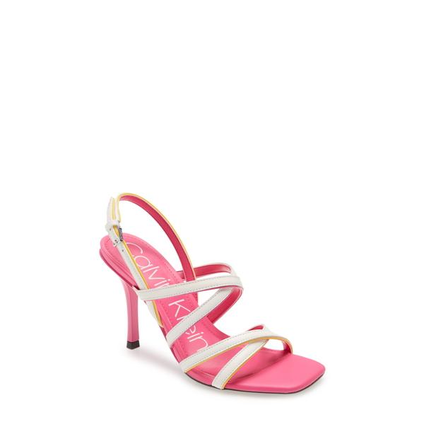 カルバンクライン レディース サンダル シューズ Miu Strappy Sandal Pink/ Yellow Patent Leather