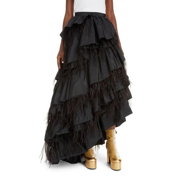 ドリス・ヴァン・ノッテン レディース スカート ボトムス Shiloh Asymmetrical Tiered Taffeta & Feather Maxi Skirt Black