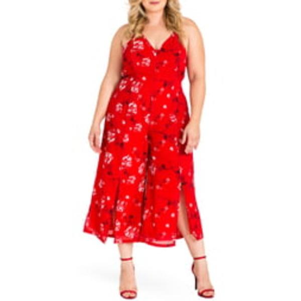 スタンダーズアンドプラクティス レディース ワンピース トップス Dianna Halter Jumpsuit Red Tulip Print