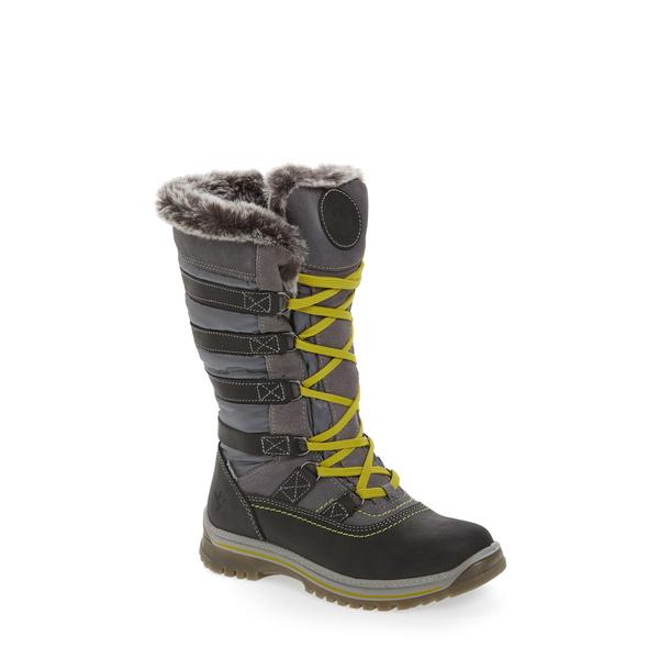 サンタナカナダ レディース ブーツ&レインブーツ シューズ Milani Waterproof Faux Fur Boot Grey Leather