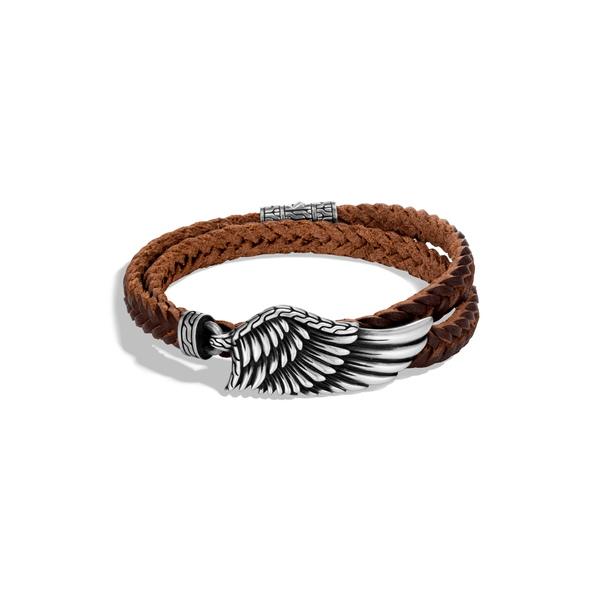 ジョン・ハーディー メンズ ブレスレット・バングル・アンクレット アクセサリー Men's Legends Eagle Double Wrap Bracelet Silver/ Leather