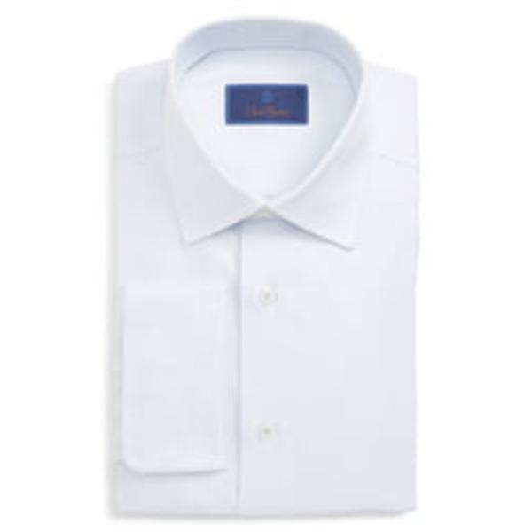 デイビッドドナヒュー メンズ シャツ トップス Regular Fit Print Dress Shirt White/ Blue
