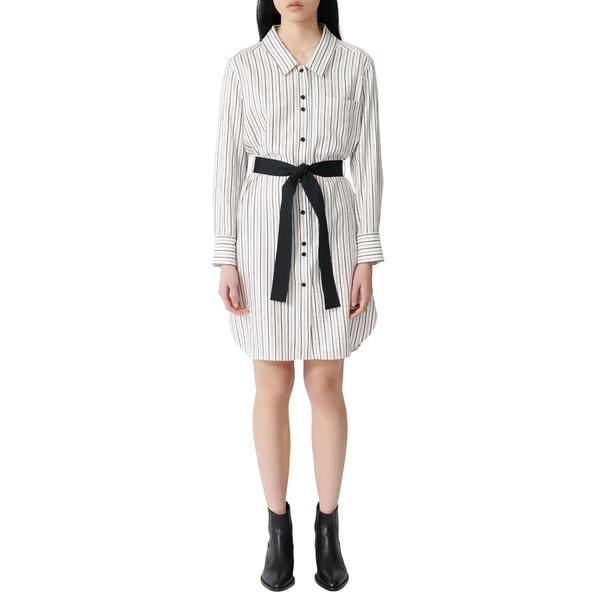 マージュ レディース ワンピース トップス Rayone Stripe Long Sleeve Shirtdress Ecru / Black