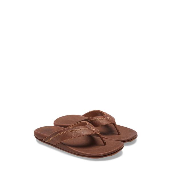 オルカイ メンズ サンダル シューズ 'Hiapo' Flip Flop Teak/ Koa Leather