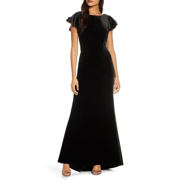 エリザジェイ レディース ワンピース トップス Satin Sleeve Velvet Trumpet Gown Black