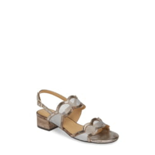 ベネリ レディース サンダル シューズ Hesper Scalloped Slingback Sandal Silver Leather