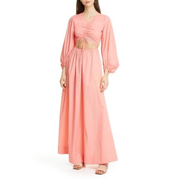 ステゥド レディース ワンピース トップス Tangier Cutout Long Sleeve Nylon Maxi Dress Coral