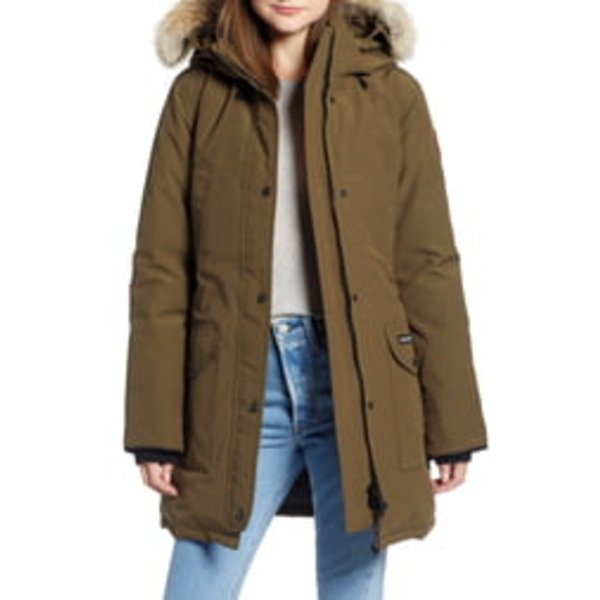 カナダグース レディース ジャケット&ブルゾン アウター Trillium Regular Fit Down Parka with Genuine Coyote Fur Trim Military Green