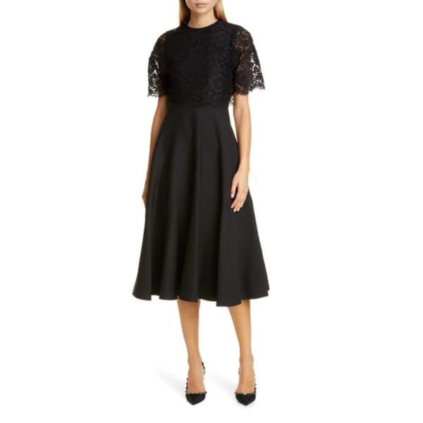 ヴァレンティノ レディース ワンピース トップス Lace Popover Crepe Couture Midi Dress Nero