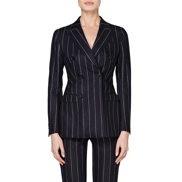 スイスタジオ レディース ジャケット&ブルゾン アウター Cameron Pinstripe Double Breasted Wool Suit Jacket Navy Chalkstripe