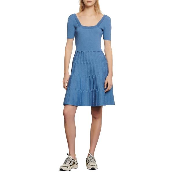 サンドロ レディース ワンピース トップス Flyn Bead Detail Fit & Flare Knit Dress Sky Blue