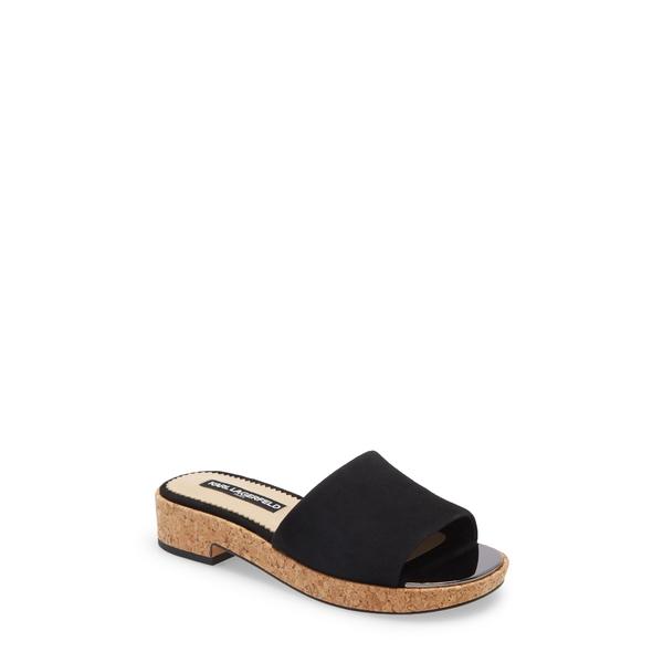 カールラガーフェルド レディース サンダル シューズ Platform Slide Sandal Black Fabric