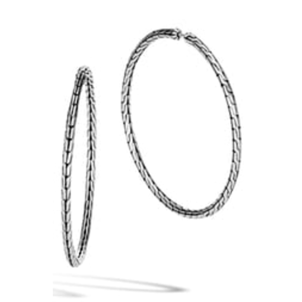 ジョン・ハーディー レディース ピアス イヤリング アクセサリー Classic Chain Large Hoop Earrings SilverL3qARc54jS