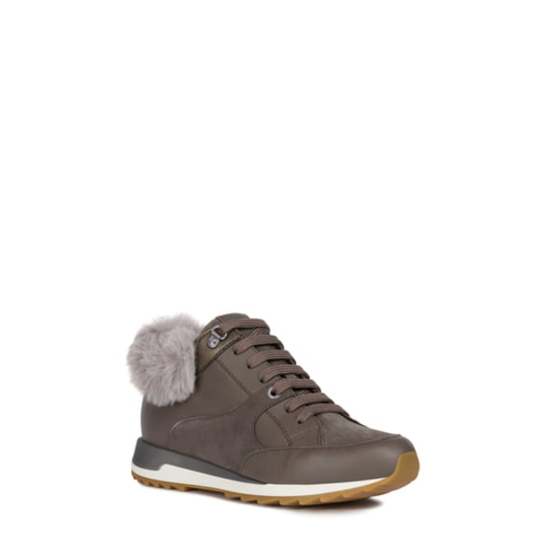 ジェオックス レディース スニーカー シューズ Aneko Amphibiox Waterproof Faux Fur Trim Sneaker Chestnut Napa Leather