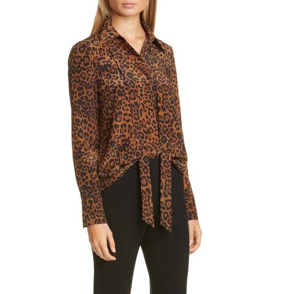 ラファイエットワンフォーエイト レディース シャツ トップス Diana Leopard Tie Neck Silk Blouse Teak Multi