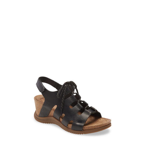 ビオニカ レディース サンダル シューズ Sorena Ghillie Wedge Sandal Black Leather