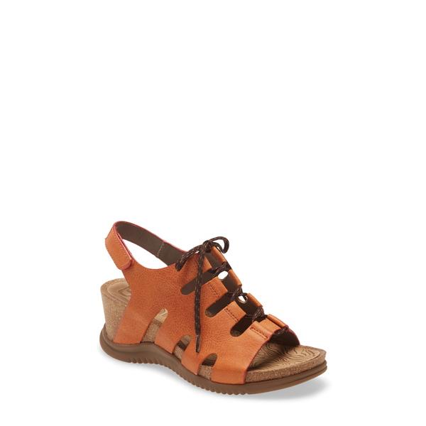 ビオニカ レディース サンダル シューズ Sorena Ghillie Wedge Sandal Orange Leather