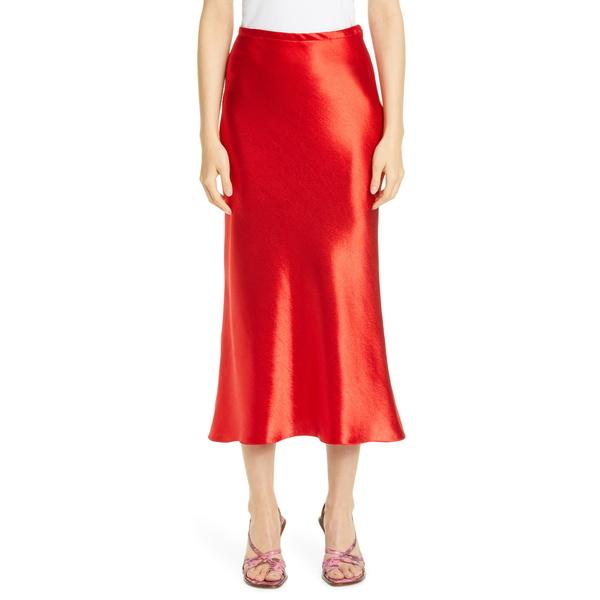シエス・マルジャン レディース スカート ボトムス Satin Midi Skirt Red Lipstick