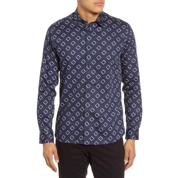 テッドベーカー メンズ シャツ トップス Bien Slim Fit Diamond Print Button-Up Shirt Navy