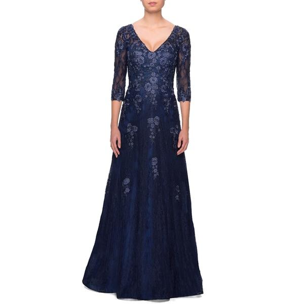 ラフェム レディース ワンピース トップス Embroidered Lace Gown Navy