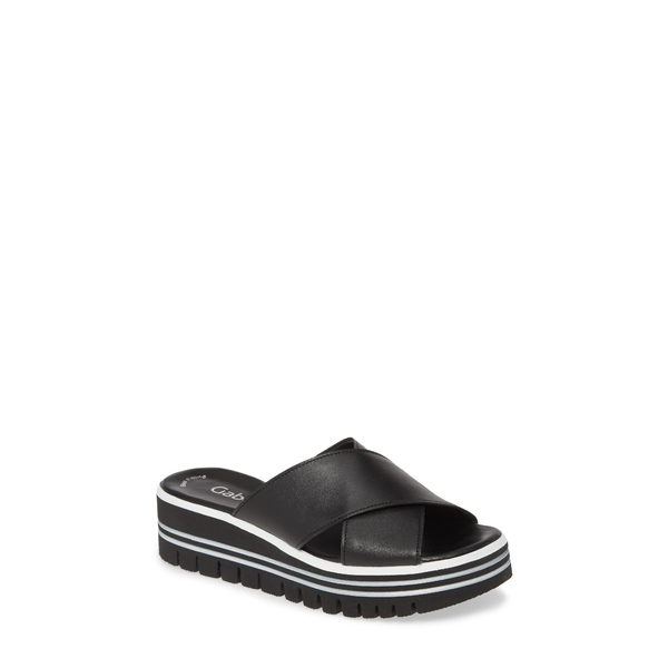 ガボール レディース サンダル シューズ Platform Slide Sandal Black Leather