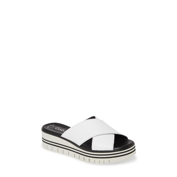 ガボール レディース サンダル シューズ Platform Slide Sandal White Leather